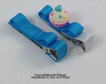 Cupcake | Blue Heart | Hair Clips for Girls | Toddler Barrette | Kids Hair Accessories | Blue Grosgrain Ribbon | Flatback| No Slip Grip