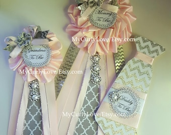 Gray Pink Baby Shower Mommy To Be Corsage/Gray Pink Baby Shower Pin/Girl Mommy to be Pin/Daddy to be Pin/Silver Pink Baby Shower Mommy to be