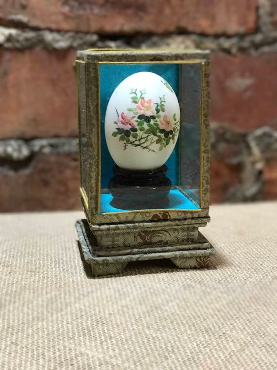 Oriental Hand Painted Porcelain Egg   Painted Egg In Chinese Silk Trimmed Glass Case   Vintage Porcelain Egg on Stand