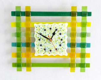 Fused glass clock, yellow and green glass clock, hand made clock, wall art clock, square clock