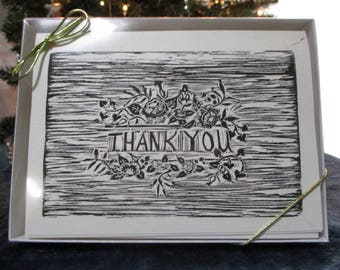Handmade Block Print Cards Set of 8--Thank You