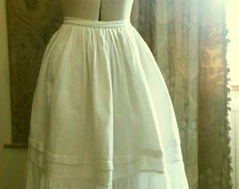 Antique Homespun Linen Handmade Petticoat