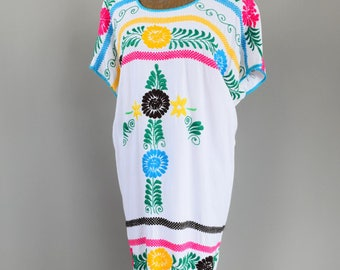 Hand Embroidered Vintage Mexican Cotton Summer Dress