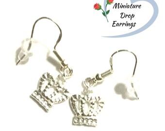 Silver Crown Earrings, Miniature Silver Drop  Earrings, Cute Tiny Earrings, Cute Tiny Gift, Every Day Earrings, Stylish On Trend Earrings
