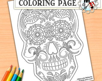day of the dead coloring page sugar skull coloring page halloween printable coloring page