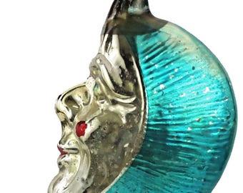 Vintage Mercury Glass Figural Half Crescent Moon Christmas Ornament West Germany