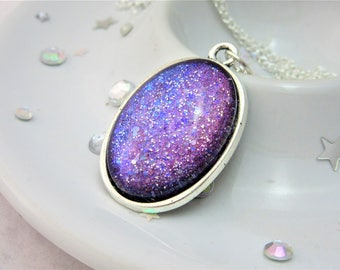 Purple Violet Glitter Oval Nail Polish Cabochon Necklace on 18 Inch Silver Plated Chain, Nail Varnish, Enamel, Valentines Day
