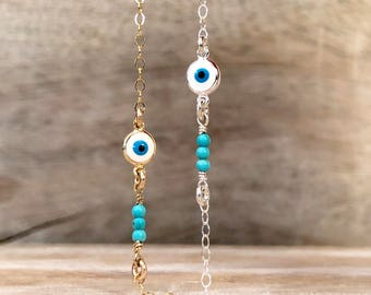 Gold Turquoise Evil Eye Necklace Delicate Gold Necklace Valentines Gift Evil Eye Jewelry Tiny Turquoise Necklace Turquoise Beaded Necklace