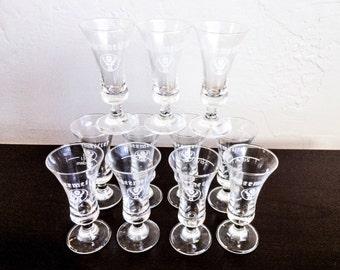 Vintage Stemmed Jagermeister Shot Glasses