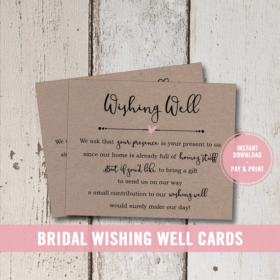 Wedding Wishing Well Card Printable Bridal Shower Insert Instant Download Poem Rustic Registry