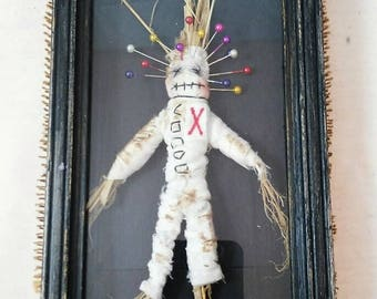 Voodoo doll-art doll-witchcraft-wall hanging-witch doll-shadow box-macabre-creepy-decoration-OOAK-conjure-poppet-bizarre-wall decor