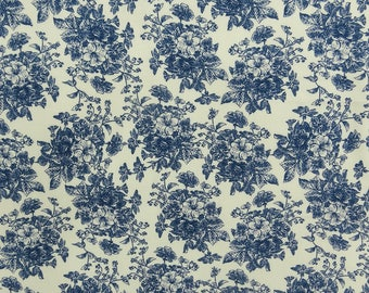 "Blue Floral Print Fabric, White Fabric, Dress Material, Sewing Crafts, 57"" Inch Rayon Fabric By The Yard ZBR558A"