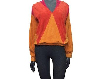 Vintage 1970s Super Soft Pink Red Orange Suede Hippy Boho Patchwork Top 12 14