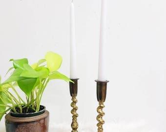 Brass Candlesticks / Large Brass Candlesticks / Unique Brass Candlesticks / Hollywood Regency / Wedding Tablescape