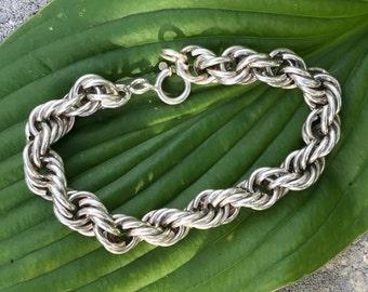 "Vintage Silver Rope  Bracelet 9"" Long  Rope Bracelet  French 800 Silver"