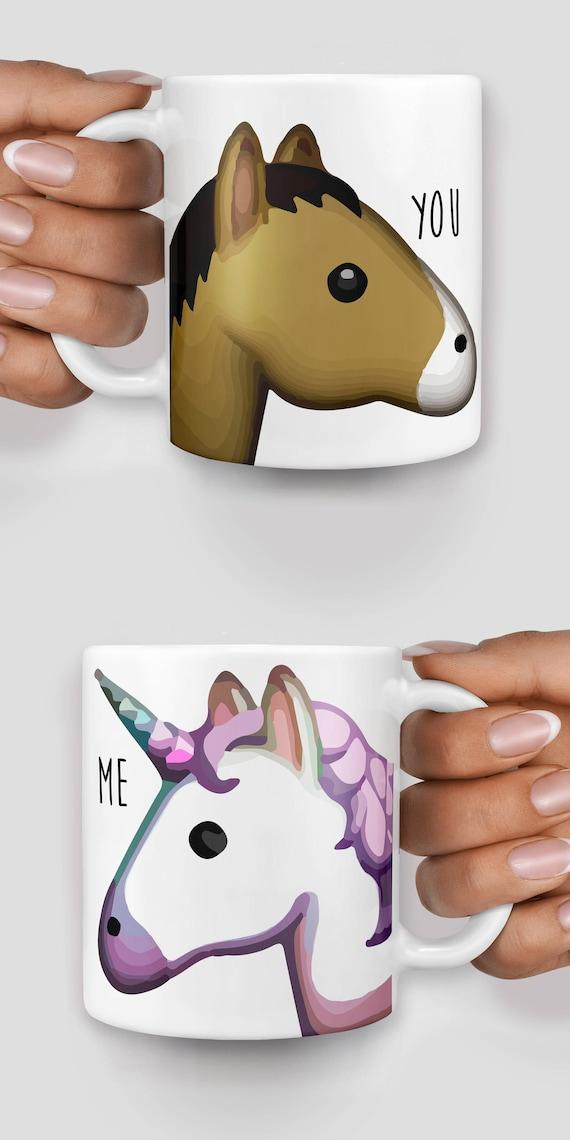 Unicorn and horse you and me emoji mug - Christmas mug - Funny mug - Rude mug - Mug cup 4P086