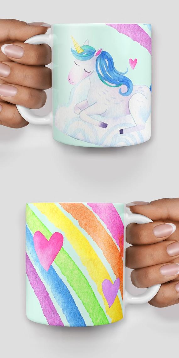 Cute watercolor unicorn rainbow mug - Christmas mug - Funny mug - Rude mug - Mug cup 4P107