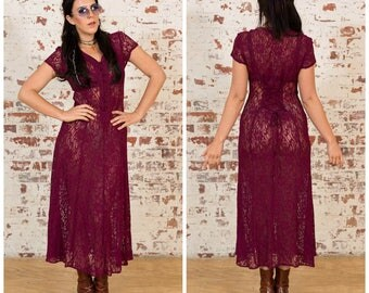 90s Teen Witch Lace Dress / Cranberry Wine / Size 10