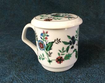 Vintage Porcelain Floral Mug with Lid, PMC Mug