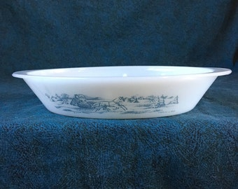 Vintage Currier and Ives Glasbake J 2352 Oval Divided Casserole Dish, The Road Winter