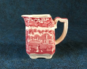 Vintage Mason's Pink Vista Small Square Creamer, Red Transferware Pitcher