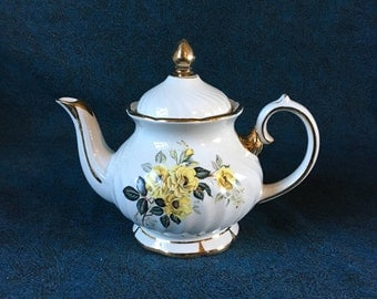 Vintage Gibson's Staffordshire Yellow Rose Teapot From England