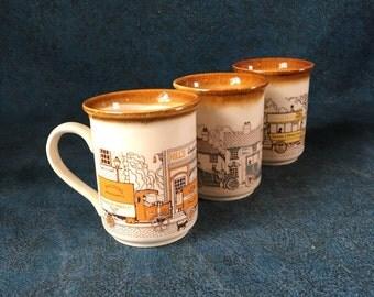 Vintage Biltons England Old Town Main Street Coffee Mugs, Set of 3