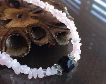 Rose Quartz, Black Tourmaline and Herkimer Diamond Necklace, Rose Quartz Necklace