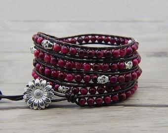 5 wrap bracelet skull bracelet tiger eye beads bracelet Rose red Tiger eye bracelet Leather beads wrap bracelet gemstone bracelet SL-0607