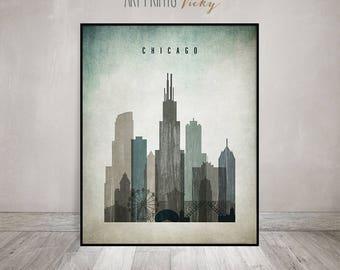 Chicago art print poster, Chicago skyline, Wall art, Illinois, distressed art, Typography art, Home Decor, travel decor ArtPrintsVicky.