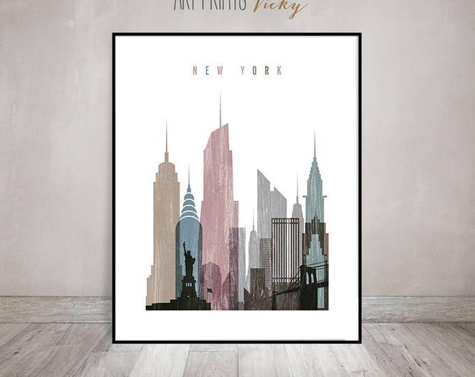 New York City skyline art print, Poster, Wall art, Distressed art, City print, Typography art, Gift, Home Decor, travel decor ArtPrintsVicky