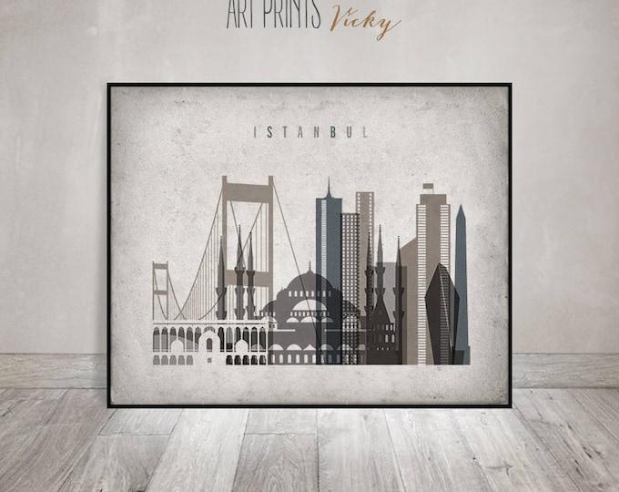 Wall art Istanbul, Istanbul print, Istanbul Poster, Istanbul skyline, office decor, travel, Vintage style, Gift, Home Decor, ArtPrintsVicky