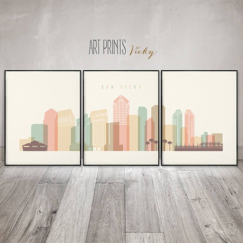 san diego skyline art 3 pieces wall art posters set of 3 prints large wall art travel decor home decor gift