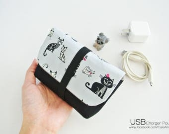 Cat Party Charger & Cable Storage, Cellphone Charger Holder, USB Cable Case, Traveller Gadget Organizer, Cable Holder - Made to Order