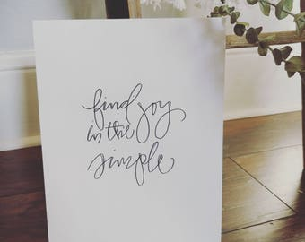 Find Joy In The Simple Handlettered Print