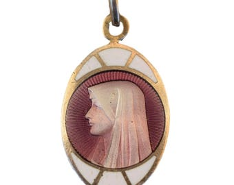 Virgin Mary  - French Religious Purple and White Enamel Medal  - Silver Plate Medal -