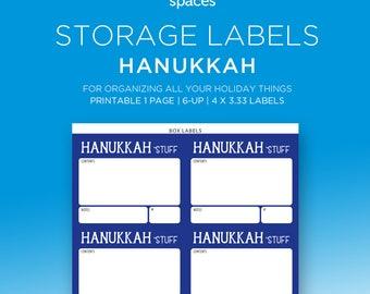 Holiday Storage Labels - Hanukkah Decorations & More Organizing Labels - PRINTABLE Labels