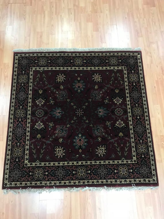 """4'1"""" x 4'1"""" Square Indian Tabriz Oriental Rug - Hand Made - 100% Wool"""