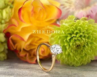 2.0 Oval Cut Yellow Gold Engagement Ring  ,Dainty Oval Wedding Ring, Oval Cut Bridal Ring, Dainty Oval Ring, Moissanite Oval Wedding Ring