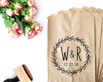 Wedding Monogram Stamp - Candy Buffet Bag - Custom Monogram Stamp - Wedding Bag Stamp - Wedding Cookie Bag - Boho Wedding Wreath