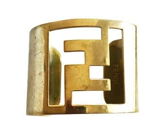 FENDI Logo Monogram Gold/brass Cut-Out Cuff Bracelet Zucca