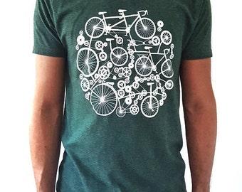 Men's T-shirt Bike Design Green Blue