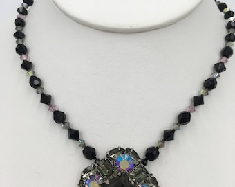 Upcycled, one-of-a-kind, Vintage, Grey/Black Rhinestone Necklace