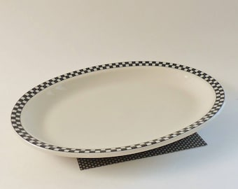 Black and White Platter - Homer Laughlin 11 inch Checked Oval Platter - Heavy Duty Classic Look Platter - For Minimalist or Farmhouse Decor