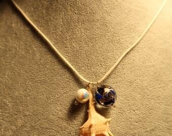 Mermaid seashell blue necklace