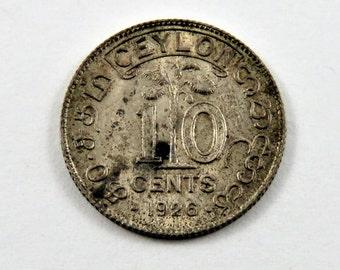 Ceylon 1926 Silver 10 Cents Coin.