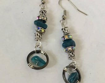 Handmade Genuine Blue Opal Gemstone Earrings Genuine Crystal earrings boho opal earrings opal dangle earrings boho earrings