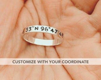 Coordinate ring, Custom coordinate ring, Latitude longitude ring, Promise ring for him, Stacking rings, Long distance