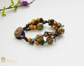 Boho Style - Leather Wrap bracelet - Hand Made bracelet - Gift for You - gemstone bracelet - Gift for Her - Indian Bracelet - Gifts