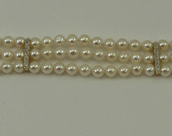 Freshwater Pearl Triple Strand Bracelet 14k Yellow Gold Clasp & Diamond Bars